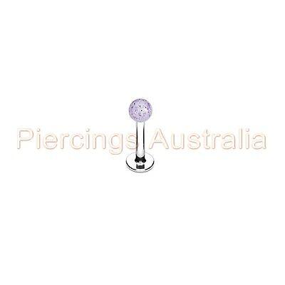 Glitter Ball Labret Lip Bar Ring Monroe Body Piercing Jewellery CHOOSE LENGTH