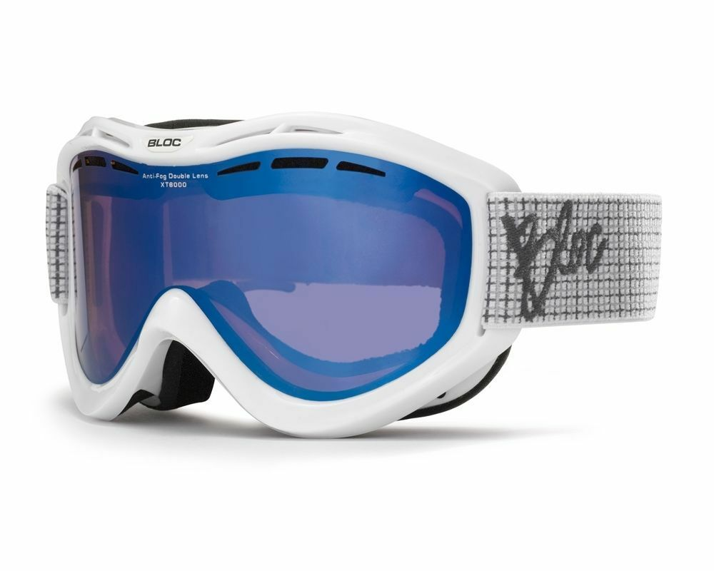 BLOC VMW13 WHITE GOGGLES blueE MIRROR CAT 3 LENS SKI SNOWBOARD WITH FREE SNOOD
