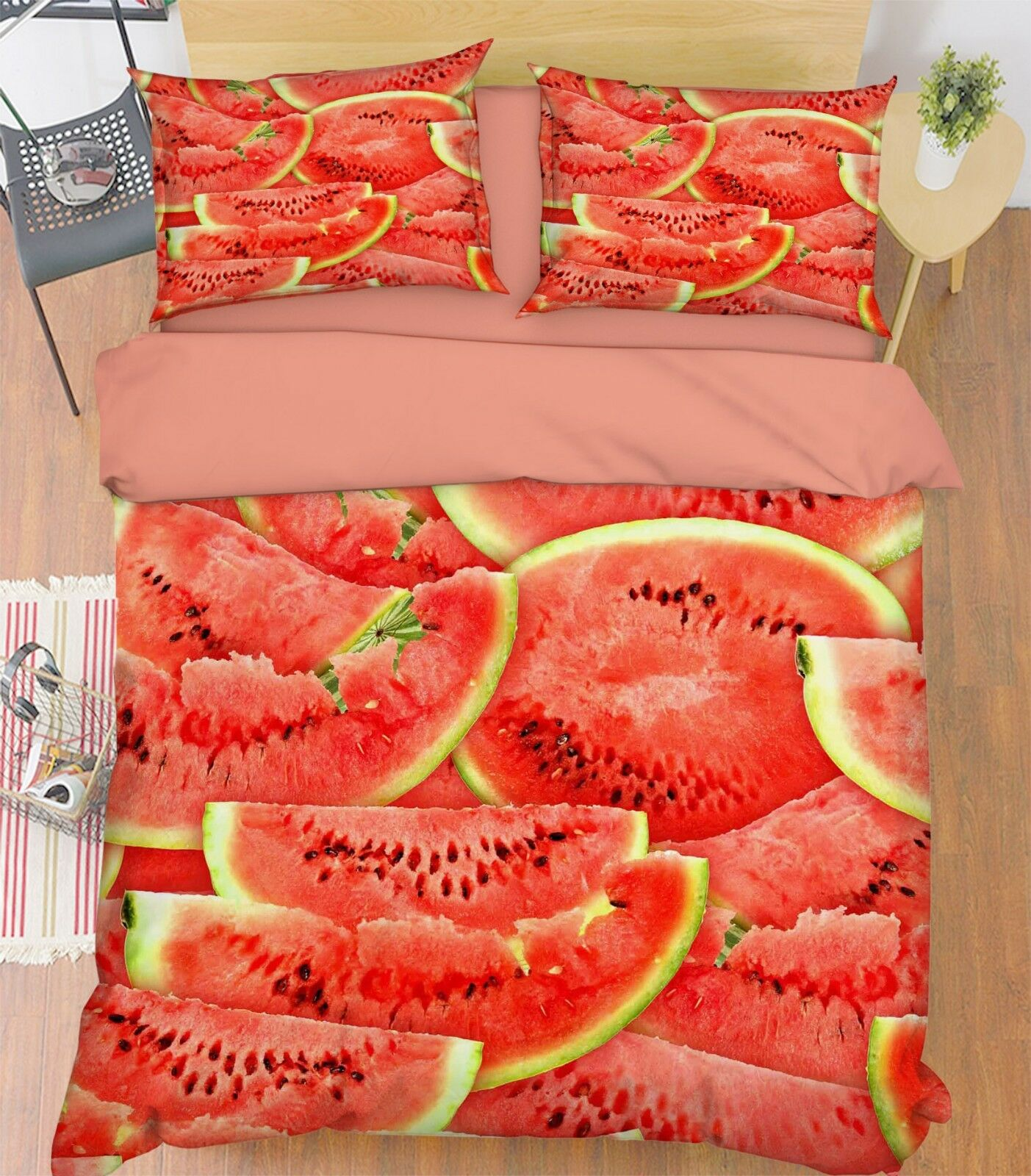 3D Watermelon Fruit89 Bed Pillowcases Quilt Duvet Cover Set Single Queen King CA