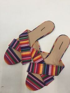 91237173826 NEW J.CREW WOMEN S MULTISTRIPE CORA CRISSCROSS SLIDES SANDALS SIZE 9 ...