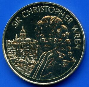 Sir-Christopher-Wren-St-Paul-039-s-Cathedral-300th-Coin-Token-38mm-Dia-X-3mm-Thick