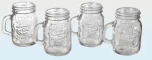 Set of 4 Mini Vintage Jars (Mason Style With Handle) Shot Glass, Candle Holder