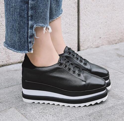 talons à chaussures Femmes lacets élégantes baskets à cuir compensés collège plateforme en décontractée wUEvqxf6U