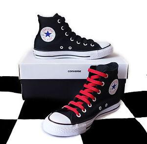 Details zu CONVERSE Chuck Taylor ALL STAR High Top SNEAKERS schwarz weiß rot Gr. 38