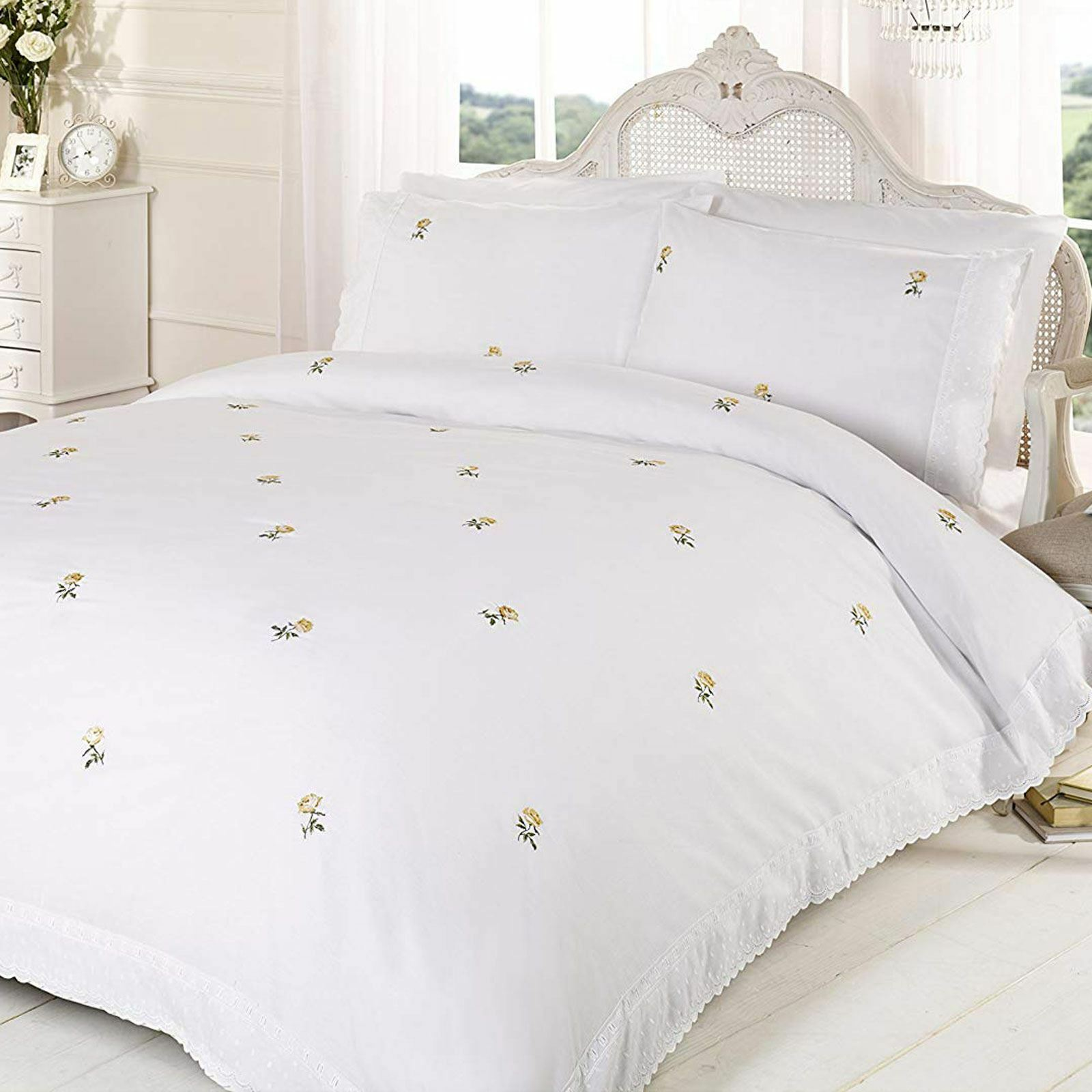 ALICIA FLORAL WHITE   YELLOW SINGLE DUVET COVER SET EMBROIDERED BEDDING