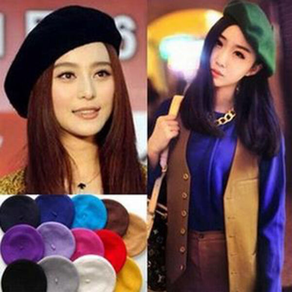 bed8dc8853c New Plain Beret Hat Wool Autumn Women Girls Fashion Hats French Beret Winter  Cou