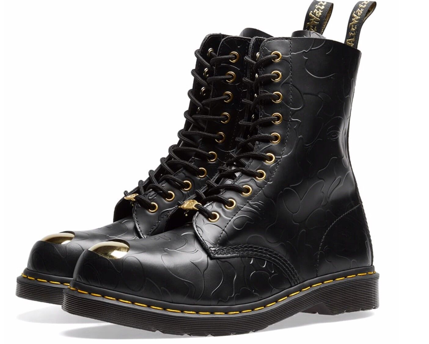 A Bape x Dr. Martens 1490 Black Smooth Emboss   US9   Deadstock   New    400