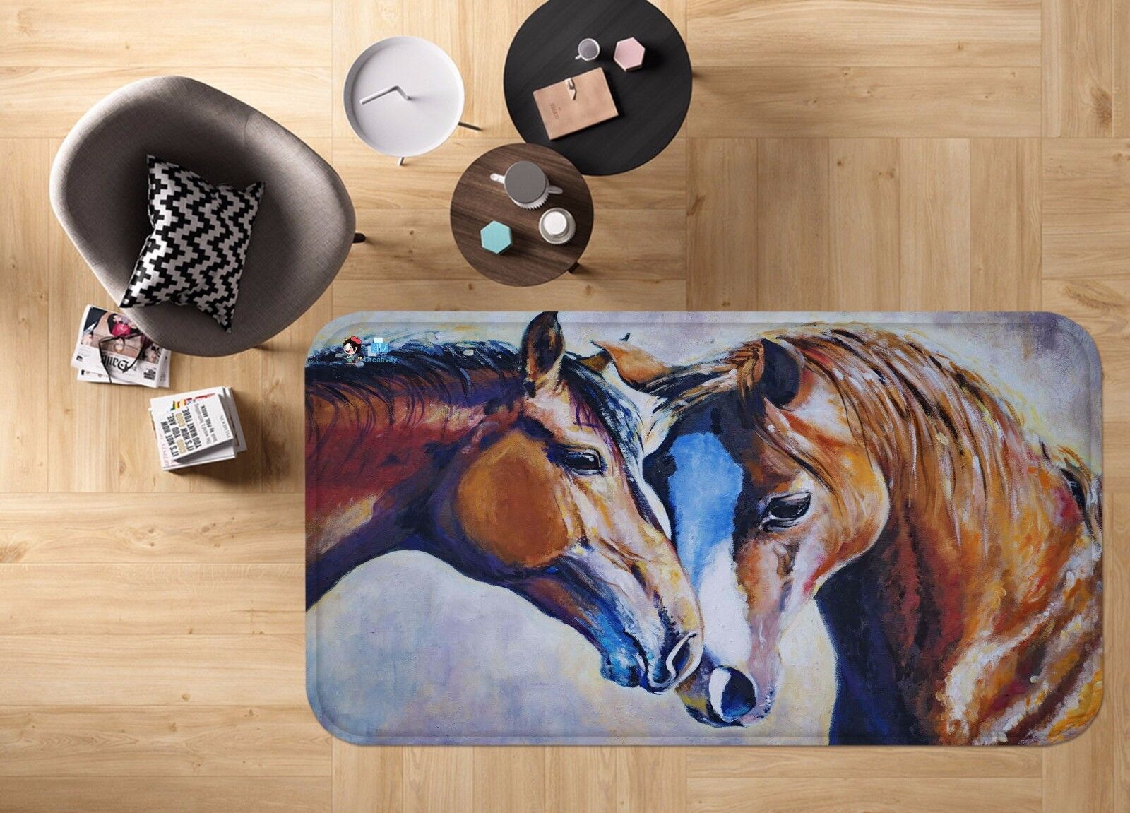 3D Couple Horses 315 Non Slip Rug Mat Room Mat Quality Elegant Photo Carpet AU