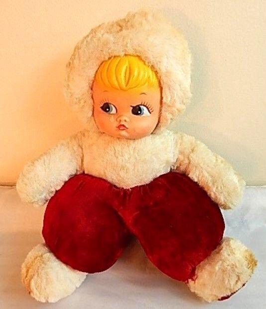 Vintage Felpa Invierno Kewpie De Goma Juguete de Peluche Muñeca Cochea de llorar triste Pout lágrima