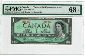 Canada-1-Dollar-Banknote-1967-BC-45a-PMG-Superb-GEM-UNC-68-EPQ