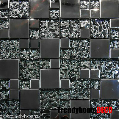 10SF- Stainless Steel Pattern Textured Glass Mosaic Tile Kitchen Backsplash Sink
