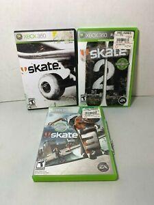 Skate-1-2-amp-3-Xbox-360-Games-Lot-Bundle-Skating-Clean-Tested-Discs-in-Case