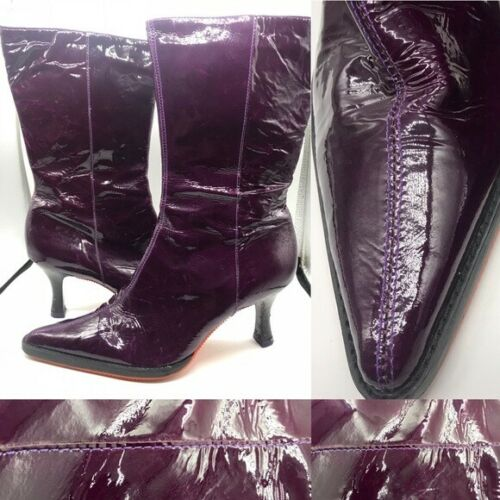 Purple patent leather boots by Giga w side zipper