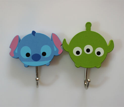 Set of 2 Stitch and Three Eyed Alien Adhesive Wooden Wall Hook