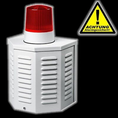 Fassadenbox Alarmanlage Sirene Attrappe Dummy LED Batterie Alu-Gehäuse elro NEU