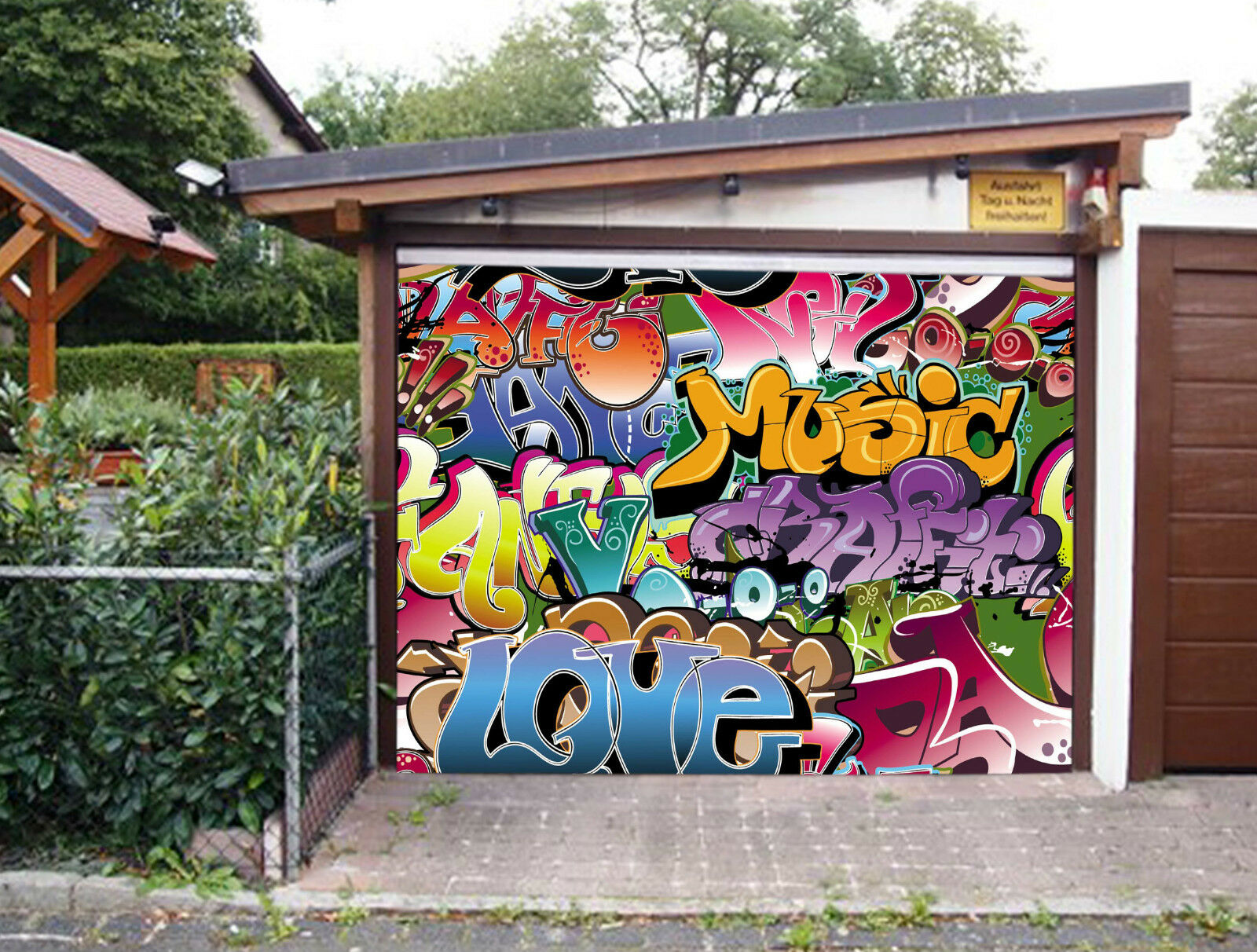 3D Parola Graffiti Garage Porta Stampe Parete Decorazione Murale AJ WALLPAPER IT