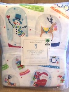 Pottery Barn Kids Santa Snow Globe Queen Sheet Set New
