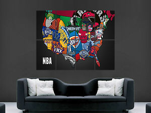 Details about BASKETBALL NBA MAP OF USA IN CRESTS BADGES ART HUGE GIANT  POSTER PRINT LARGE