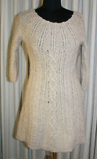 Womens Kenji Sweater Dress Sz M Alpaca Wool Blend Knit Lt Brown Stretch Soft