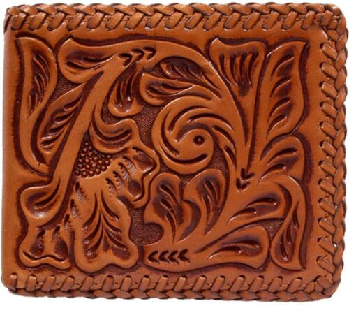 3D Western Mens Wallet Bifold Leather Floral Lacing Tooled AW117