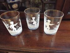 VINTAGE SET 3 FENTON MARY GREGORY HAND PAINTED ART GLASS TUMBLERS CUPS NR
