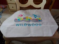 Large white beach tote with Wildwood and fish embroidered on front
