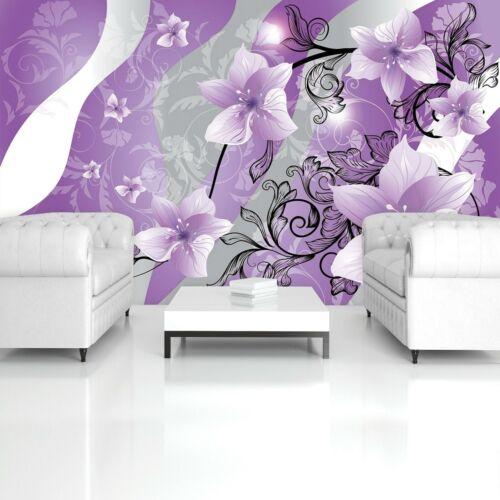 Vlies Fototapete Blumen 3D Lila Kunst Orchidee Ornament Schlafzimmer Tapete 67