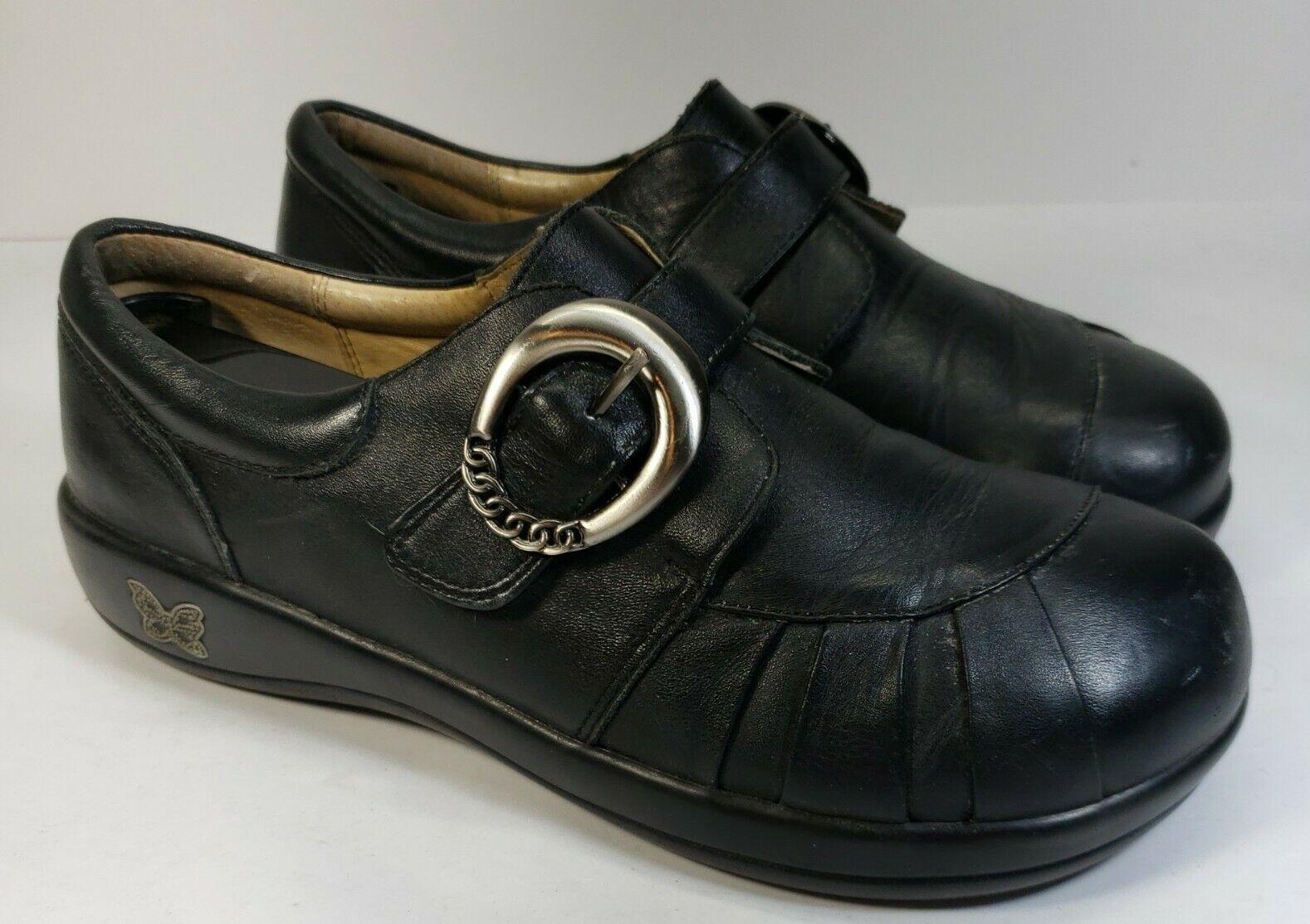ALEGRIA 'Khloe' Black Leather Buckle Strap Comfort Shoes EUR 38