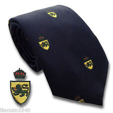 Crested Navy Blue Mens Silk Tie - High Fashion Regimental Millitary