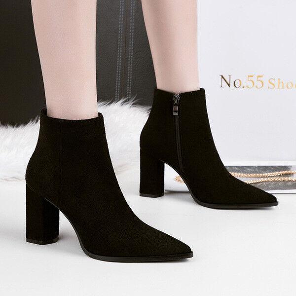 botas bajo zapatos tobillo negro 10 cm elegantes como piel 9671