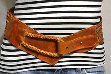 LINEA PELLE Western DISTRESSED Cognac Woven Leather Boho Belt Hippie Women's S