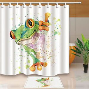 Image Is Loading Bathroom Doormat Frog Design Waterproof Fabric Shower Curtain