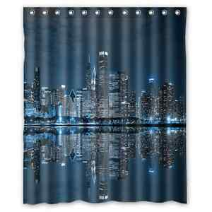 New Comfort Home Style Custom Chicago Skyline Waterproof Shower Curtain 60x72 Ebay