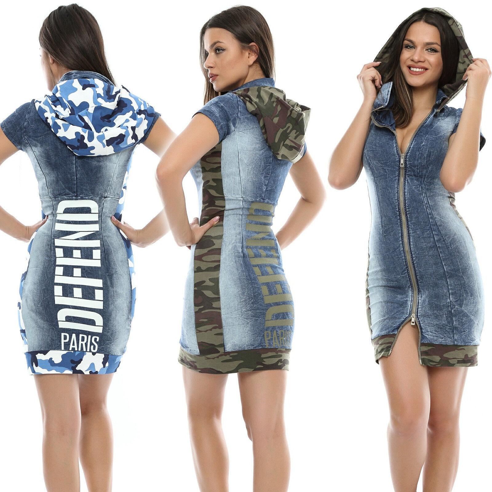 FOGGI femmeskleid Jeanskleid Minikleid Jeans Sommerkleid Strandkleid 34-38  F110