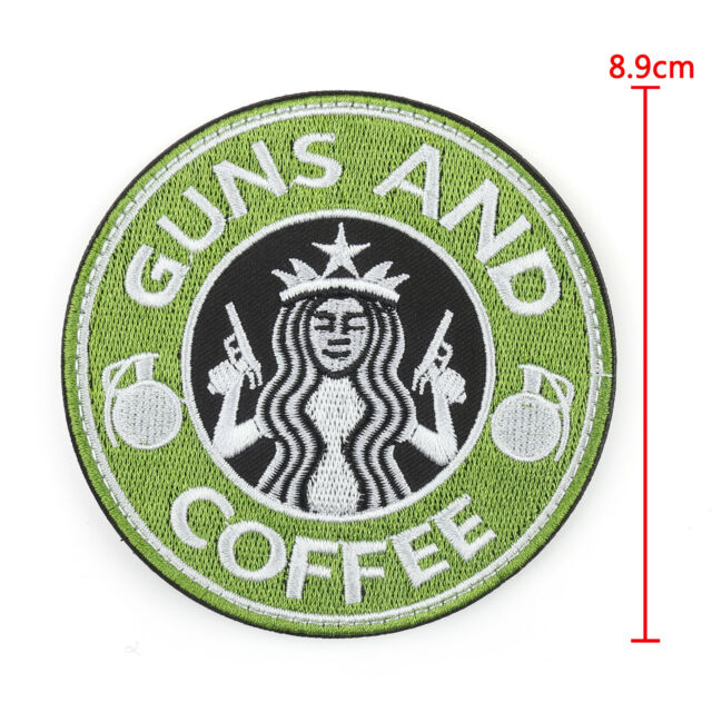 Tactical Guns And Coffee Hook Loop Morale Military Insignia Patch Starbucks
