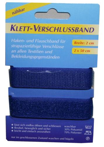 Klettband Klettverschluss 2x50cm 2cm blau 1004