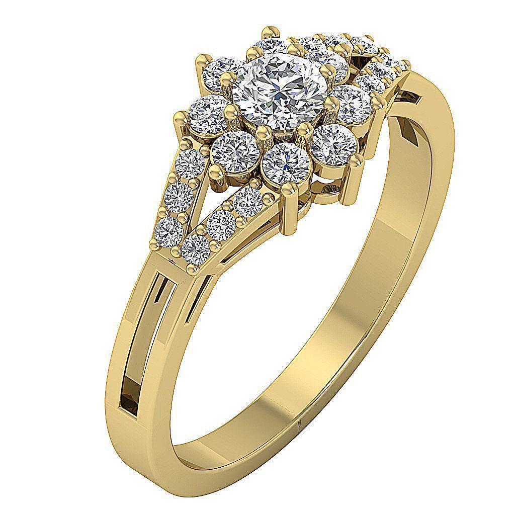 Halo Solitaire Anniversary Ring I1 G 0.80Ct Round Diamond 14K Yellow gold 9.30MM