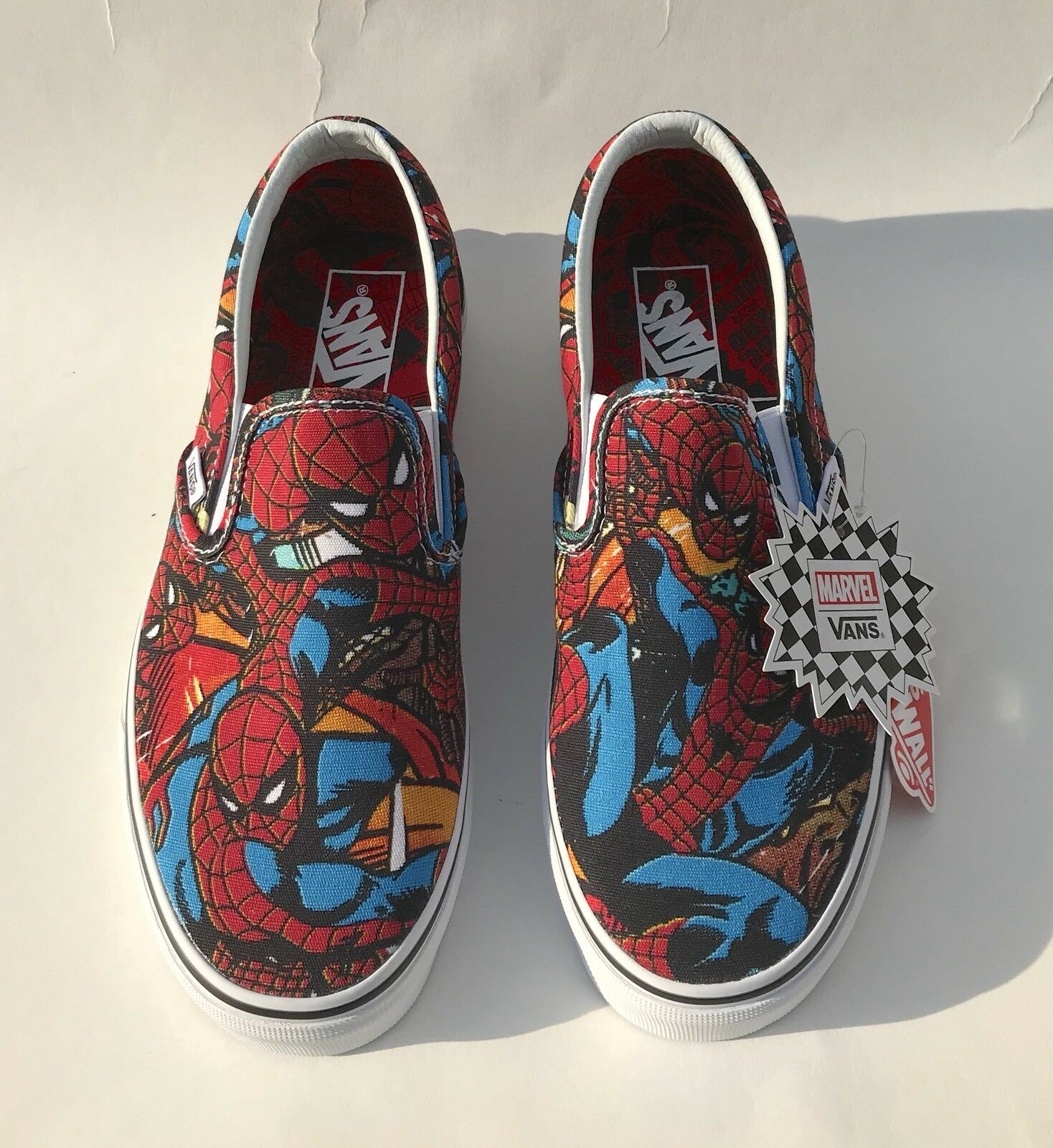Vans Marvel Spiderman Clásico Slip On Rojo Azul blancoo De Hombre Tallas 9.5