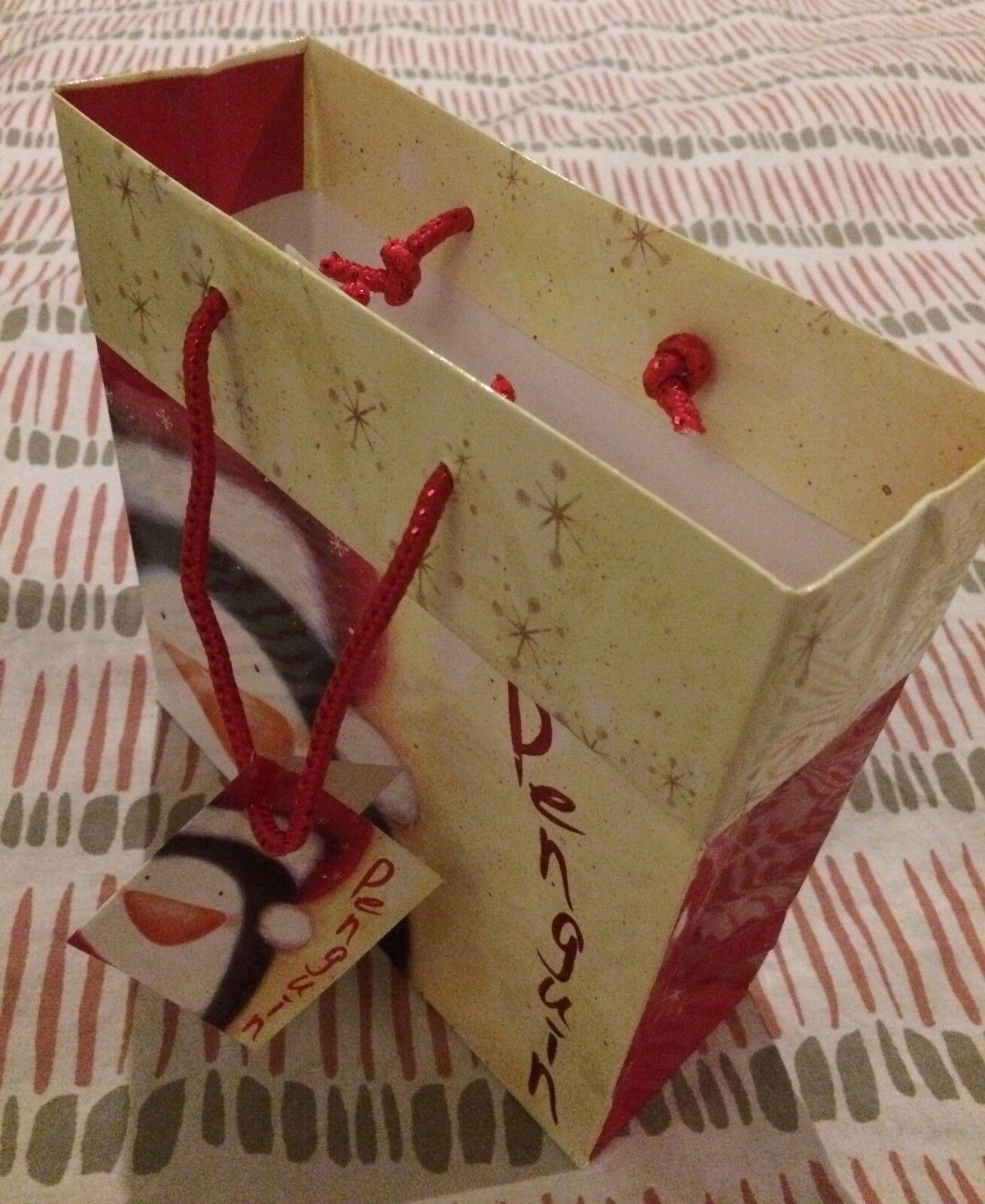 Christmas Present Gift Bag Santa Penguin Design with Tag Tag Tag Presents Gifts 7  x 7  088127
