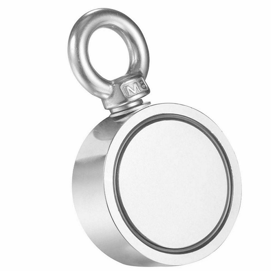 Magnet for River or Lake Fishing Diameter 1.89 x T 0.86 Round Neodymium Magnet with Eyebolt Double-Sided Magnetic Generation Neodymium Fishing Magnets Combined 308 LBS Pulling Force