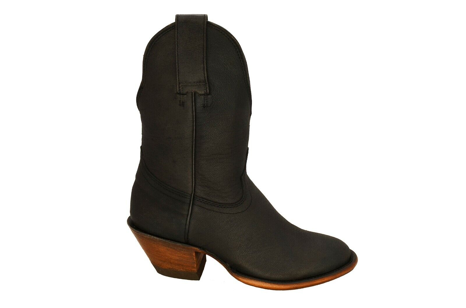 New Women's Round Toe Black Leather Mid Boots REDHAWK 7608 Size 5-10 (B, M)