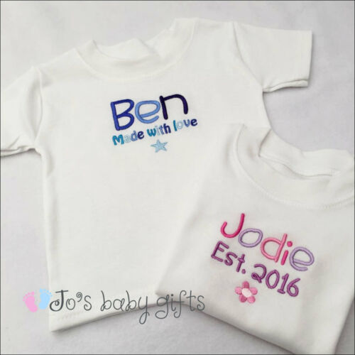 Personalised Embroidered Baby T-shirt Unique Gift Any Text,