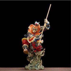 16''pure brass colored drawing Folk myth Winning Buddha MOnkey King Sun Wukong