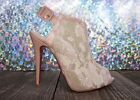 Rare CHRISTIAN LOUBOUTIN Beige Lace & Patent Leather Peep Toe Booties - 38.5/7