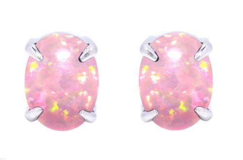 Oval Cut Australian Rose Opale De Feu Véritable Argent Sterling Boucles D/'oreilles Clou