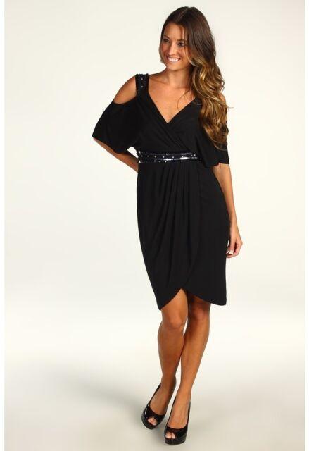 Maggy London Black Wrap Cold Shoulder Crystal Sequin Formal Dress 2