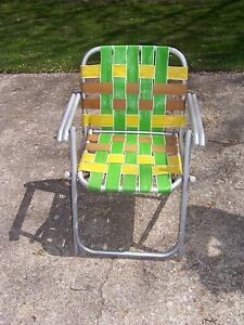 Image Is Loading VINTAGE LAWNLITE ALUMINUM FOLDING WEBBED LAWN CHAIR BEACH