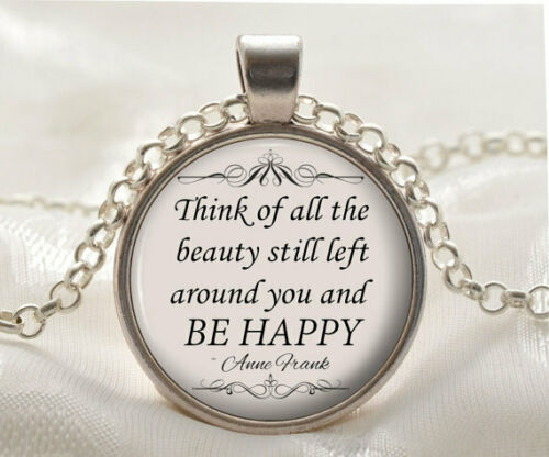 Silver Inspirational Jewelry Gift Anne Frank Necklace Quote Pendant