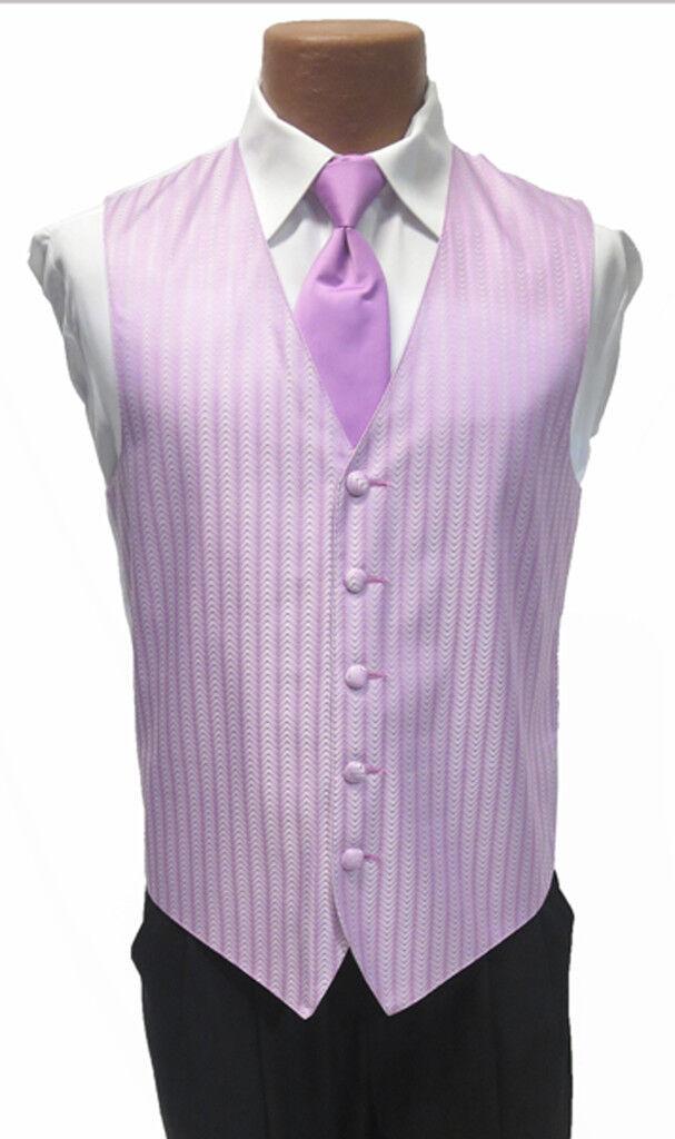 Large Mens Light Bouquet Purple Zelente Wedding Prom Fullback Tuxedo Vest w/ Tie