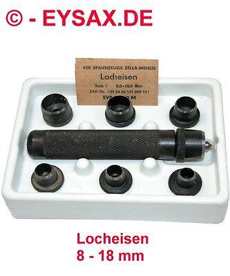 Locheisen, Stanzeisen, Schlageisen, Satz 8,0-18,0mm, VEB Spannzeuge Zella-Mehlis